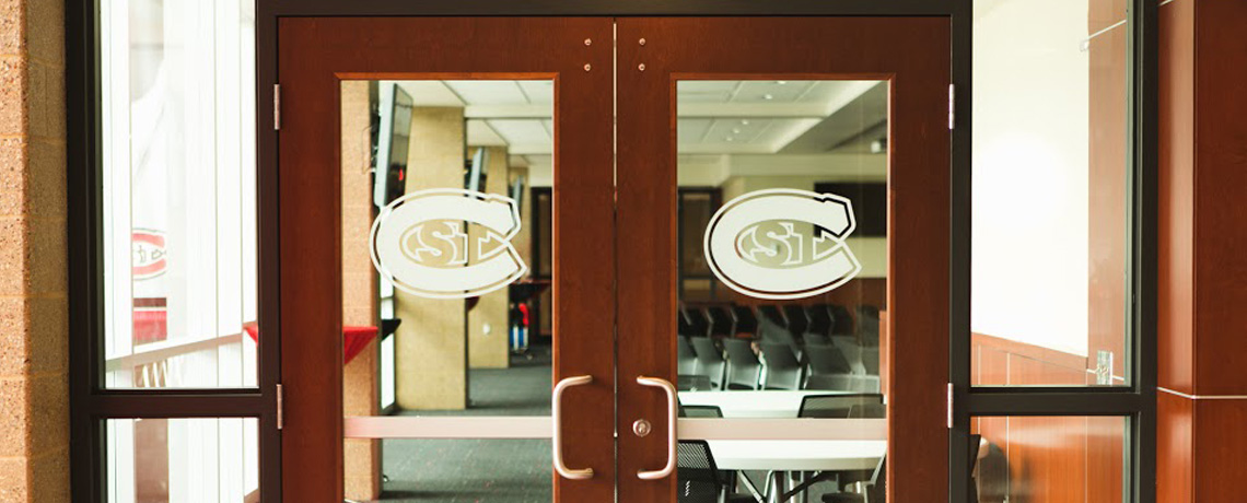 2 windowed doors with st cloud state university logos
